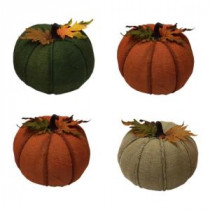Home Accents Holiday 8 in. Burlap Pumpkin (Set of 4)-P1119-201 206790552