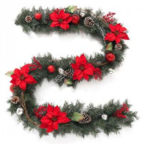 Home Accents Holiday 9 ft. Twig Pine Red Poinsettia Garland with Pinecones, Berries and Ball Ornaments-2321570HD 206771886