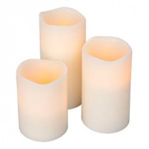 Home Accents Holiday Flameless Timer Pillar Bisque Color Candles with Wavy Edge (Count of 3)-1650574HD 202331635