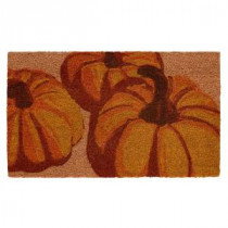Home Accents Holiday Pumpkin Trio 17 in. x 29 in. Coir Door Mat-519476 206979362