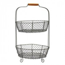 Home Decorators Collection 21 in. 2-Tier Wire Basket-9306500270 206461197