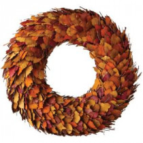 Home Decorators Collection 28 in. Artificial Harvest Wreath with Orange Dried Leaves-9755300570 300145288