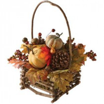 Home Decorators Collection Green Harvest 16 in. Autumn Basket with Pumpkin, Gourd and Maple Leaf-9748300730 300134212