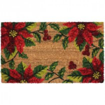 J & M Home Fashions Christmas Poinsettia Vinyl Back Coco 18 in. x 30 in. Door Mat-70186 206639156