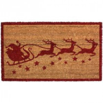J & M Home Fashions Christmas Santa's Sleigh Vinyl Back Coco 18 in. x 30 in. Door Mat-70189 206639159