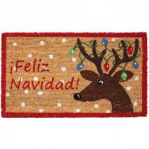 J & M Home Fashions Feliz Navidad Reindeer Vinyl Back Coco 18 in. x 30 in. Door Mat-81606A 206639160