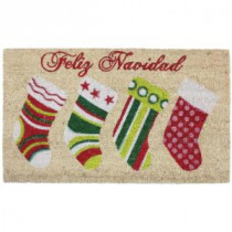 J & M Home Fashions Feliz Navidad Stocking Vinyl Back Coco 18 in. x 30 in. Door Mat-81607A 206639161