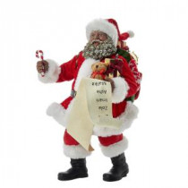 Kurt S. Adler 10.5 in. Fabriche Black Santa with List and Candy Cane-C7440 300587910