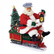 Kurt S. Adler 9.5 in. Fabriche Battery-Operated Santa on Train with LED Tree-C7458 300587895