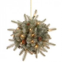 Martha Stewart Living 12 in. Battery Operated FEEL-REAL Alaskan Spruce Artificial Kissing Ball Swag with Pinecones and 35 Clear LED Lights-PEFA1-307L-12KB 205152284