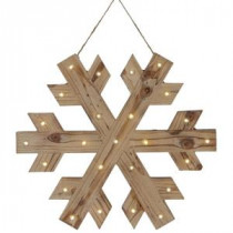Martha Stewart Living 18 in. W Lighted Wood Snowflake Christmas Ornament-9727200410 300245620