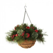 Martha Stewart Living 20 in. Pre-Lit Festive Hanging Basket with Cedar and Pine-9781300610 300374513