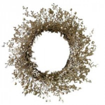 Martha Stewart Living 22 in. Champagne Glitter Artificial Wreath with Berries-A0115-223 205928529