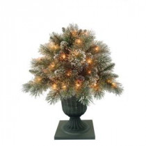 Martha Stewart Living 24 in. Sparkling Pine Potted Artificial Porch Bush with 50 Clear Lights-GB1-300-26 204177155