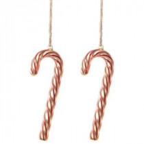 Martha Stewart Living 2.75 in. W Swirled Glass Candy Cane Christmas Ornaments (Set of 2)-9756100110 300247097