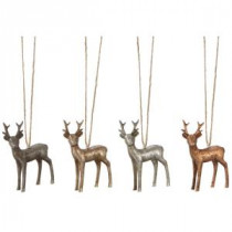 Martha Stewart Living 3 in. Etched Metallic Deer Christmas Ornaments (Set of 4)-9732600730 300261550