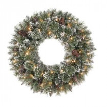 Martha Stewart Living 30 in. Frosted Pine Artificial Wreath with 50 Clear Lights-SPN-W-158/50C1 204007687