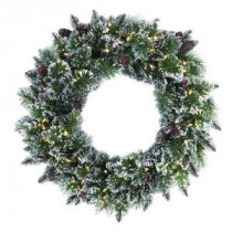 Martha Stewart Living 30 in. LED Pre-Lit Glittery Bristle Pine Artificial Christmas Wreath-9316310610 206497385
