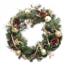 Martha Stewart Living 30 in. Unlit Golden Holiday Artificial Wreath-2173550HD 205080206