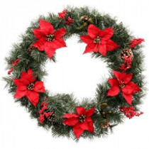 Martha Stewart Living 30 in. Unlit Winterberry Artificial Wreath with Red Poinsettias, Berries and Pinecones-1758904 203264013