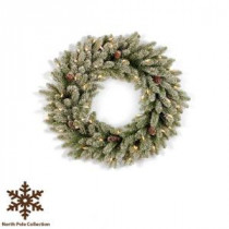 Martha Stewart Living 36 in. Pre-Lit Snowy Fir Artificial Christmas Wreath with Pinecones and Clear Lights-SR1-300-36W-1 202874537
