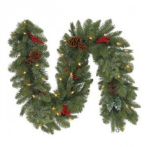 Martha Stewart Living 6 ft. Battery Operated Winslow Artificial Mantle Garland with 35 Clear LED Lights-GT60P4598L00 205983492
