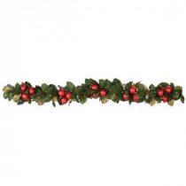 Martha Stewart Living 6 ft. Pre-Lit Garland with Magnolias and Ornaments-9754700610 300268129