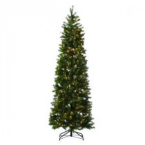 Martha Stewart Living 7 ft. Indoor Pre-Lit LED Downswept Douglas Fir Slim Artificial Christmas Tree-9315500610 206497544