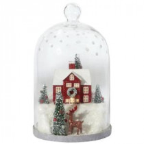 Martha Stewart Living 7.5 in. Winter House Lighted Cloche Diorama-9735600730 300266269