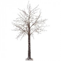 Martha Stewart Living 8 ft. Pre-Lit LED Snowy Brown Artificial Christmas Tree-9772920820 300320397