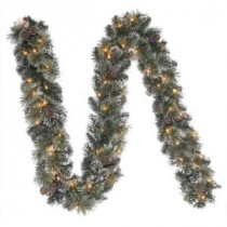 Martha Stewart Living 9 ft. Frosted Pine Artificial Garland with 50 Clear Lights-GT90M2R70C02 204007699