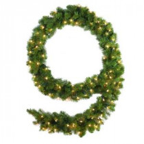 Martha Stewart Living 9 ft. Pre-Lit Downswept Douglas Fir Garland-9316200610 206497679