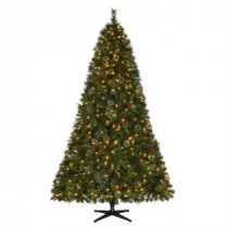Martha Stewart Living 9 ft. Pre-Lit LED Alexander Pine Quick-Set Artificial Christmas Tree with Pinecones and Warm White Lights-TG90M5311L00 206770995