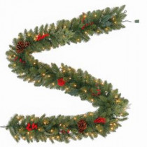 Martha Stewart Living 9 ft. Winslow Artificial Garland with 100 Clear Lights-GT90P4598C00 205915557