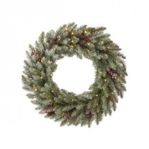 Martha Stewart Living Snowy Dunhill Fir 24 in. Artificial Christmas Wreath-9781400610 300338116