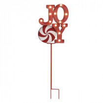 Mr. Christmas 12 in. Joy Indoor/Outdoor Merry Marquee Tower with Stake-60355 207213064