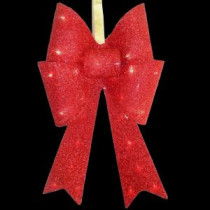 National Tree Company 20 in. Pre-Lit Red Fabric Bow with Battery Operated LED Lights-MZBO-20RL-B1 205572855
