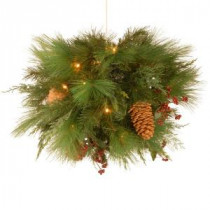 National Tree Company 20 in. White Pine Kissing Ball with Battery Operated Warm White LED Lights-WHP13-300L-20B 300487296