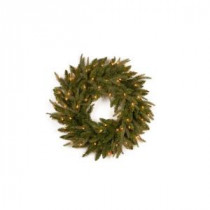 National Tree Company 24 in. Feel-Real Frasier Grande Artificial Wreath with 70 Clear Lights-PEFG4-330-24W 204248706