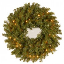National Tree Company 24 in. Norwood Fir Artificial Wreath with Clear Lights-NF-24WLO-1 300182902