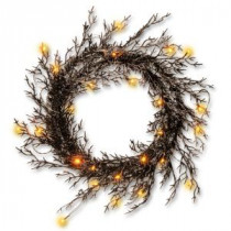National Tree Company 26 in. Black Glittered Halloween Wreath with Lights-RAH-15561W26L 207123915