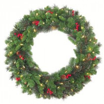 National Tree Company 30 in. Crestwood Spruce Artificial Christmas Wreath with 70 White Battery Operated LED Lights with Timer-CW7-306-30WBC1 206889333