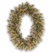 National Tree Company 30 in. Glittery Bristle Pine Artificial Wreath with Battery Operated Warm White LED Lights-GB3-307-30WBC 300182853