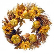 National Tree Company 30 in. Wreath with Pumpkins and Sunflowers-RAHV-15425W30 207123489