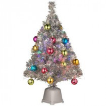 National Tree Company 32 in. Silver Fiber Optic Fireworks Ornament Artificial Christmas Tree-SZOX7-177-32-1 205331317