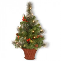 National Tree Company 36 in. Crestwood Spruce Half Tree with Battery Operated Warm White LED Lights-CW7-306-3HT-B 300487162