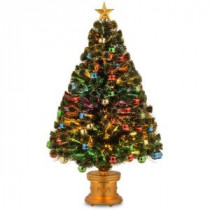 National Tree Company 4 ft. Fiber Optic Fireworks Artificial Christmas Tree with Ball Ornaments-SZOX7-176L-48 300496198