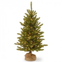 National Tree Company 4 ft. Kensington Burlap Artificial Christmas Tree with Clear Lights-KNT3-306-40 300120624