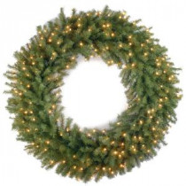 National Tree Company 42 in. Norwood Fir Artificial Wreath with Clear Lights-NF-42WLO-1 300182910