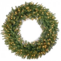 National Tree Company 48 in. Norwood Fir Artificial Wreath with 200 Clear Lights-NF-48WLO 205982350